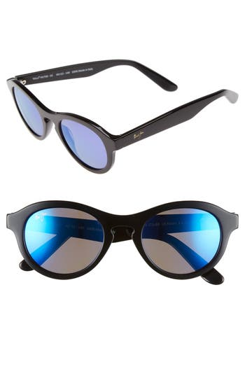 Women's Maui Jim Leia 49Mm Polarizedplus2 Retro Sunglasses - Gloss Black/ Blue Hawaii