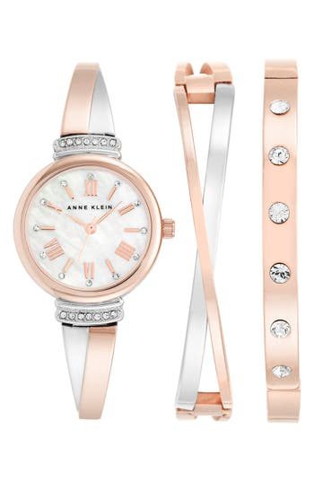 Women's Anne Klein Round Watch & Bangle Set, 26Mm