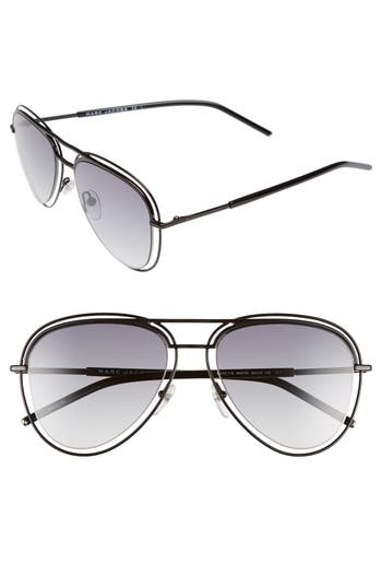 Women's Marc Jacobs 54Mm Aviator Sunglasses - Shiny Black