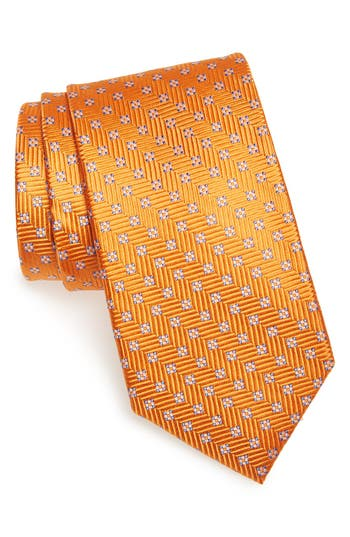 Men's Nordstrom Men's Shop Grid Silk Tie, Size Regular - Orange