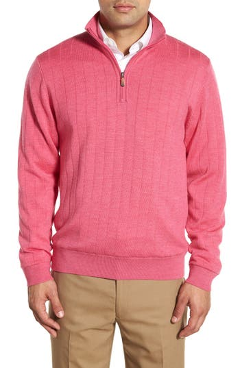 Men's Bobby Jones Windproof Merino Wool Quarter Zip Sweater, Size Small - Purple