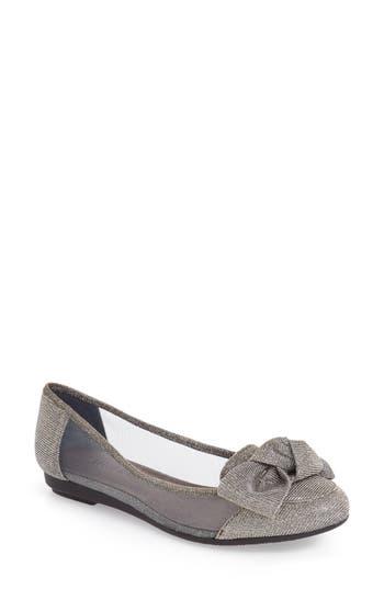 Women's J. Renee 'Bacton' Mesh Inset Bow Flat, Size 7 AA - Grey