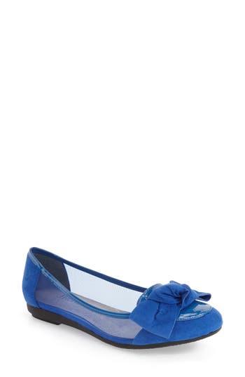Women's J. Renee 'Bacton' Mesh Inset Bow Flat, Size 5.5 B - Blue