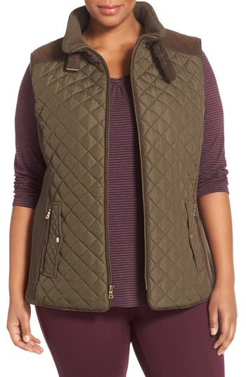 Plus Size Women's Gallery Quilted Vest With Faux Suede Trim