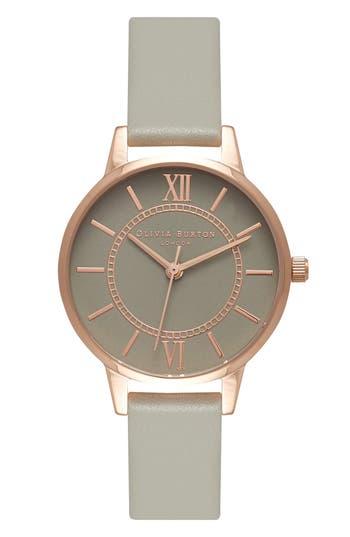 Women's Olivia Burton 'Wonderland' Leather Strap Watch, 30Mm