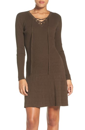 Women's Fraiche By J Lace-Up Ribbed A-Line Dress, Size Small - Green