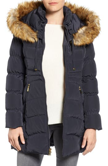 Laundry By Shelli Segal Hooded Down & Feather Fill Coat With Detachable Faux Fur Trim, Purple