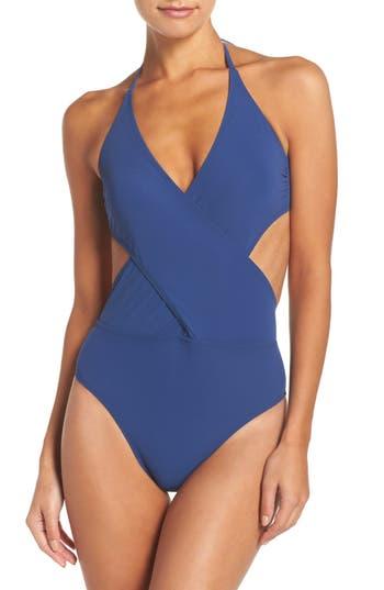 Tory Burch Halter One-Piece Swimsuit, Blue