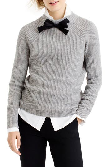 Women's J.crew Gayle Tie Neck Sweater, Size XX-Small - Grey