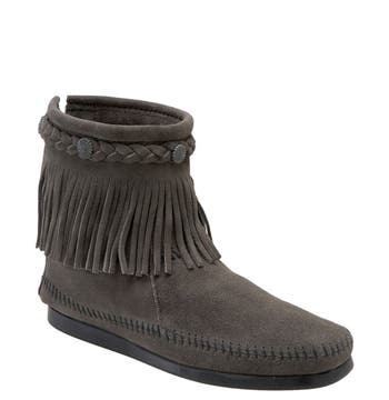 Minnetonka Fringed Moccasin Bootie, Grey