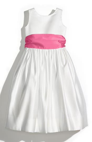Girl's Us Angels Sleeveless Satin Dress With Contrast Sash, Size 6X - Pink