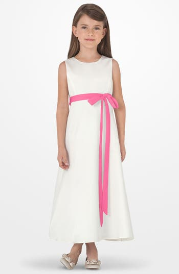 Toddler Girl's Us Angels Sleeveless Satin Dress, Size 4T - Pink