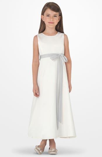 Girl's Us Angels Sleeveless Satin Dress, Size 7 - Metallic