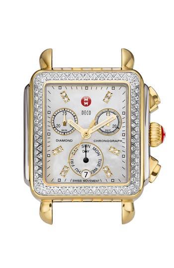 Women's Michele Deco Diamond Diamond Dial Two-Tone Watch Case, 33Mm X 35Mm