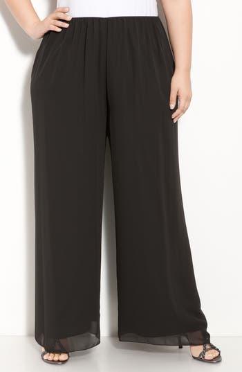 1920s Style Women's Pants, Trousers, Knickers Plus Size Womens Alex Evenings Chiffon Palazzo Pants $79.00 AT vintagedancer.com