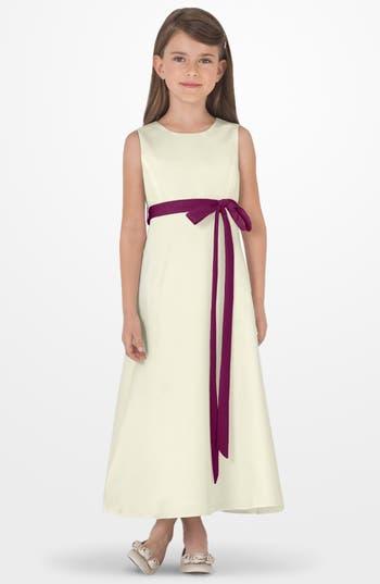 Toddler Girl's Us Angels Sleeveless Satin Dress, Size 4T - Burgundy