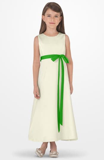 Girl's Us Angels Sleeveless Satin Dress, Size 4 - Green