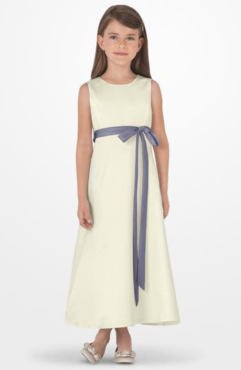 Girl's Us Angels Sleeveless Satin Dress, Size 4 - Grey