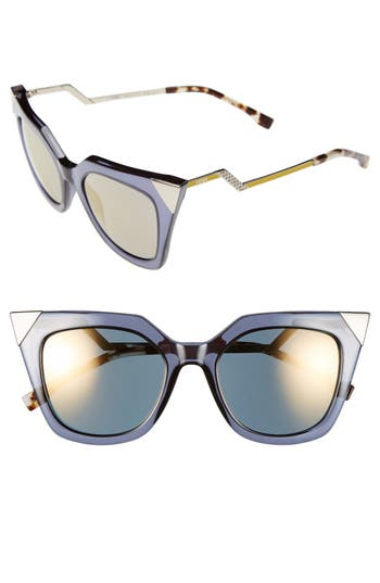 Women's Fendi 52Mm Cat Eye Sunglasses - Blue/ Grey