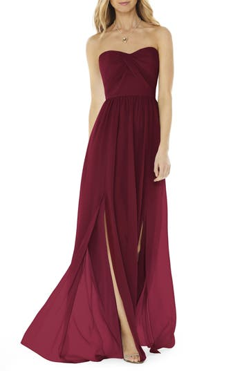 Women's Social Bridesmaids Strapless Georgette Gown, Size 0 - Burgundy