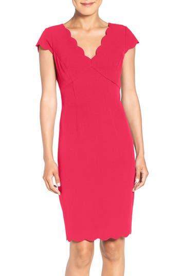 Women's Adrianna Papell Scalloped Crepe Sheath Dress