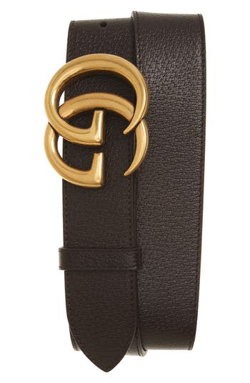Men's Gucci Marmont Logo Leather Belt, Size 80 EU - Dark Brown