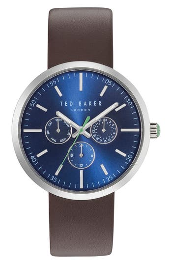 Ted Baker London Jack Multifunction Leather Strap Watch, 42Mm