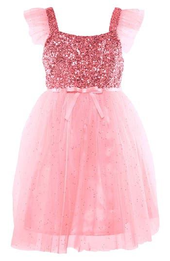 Girl's Popatu Sequin Bodice Tulle Dress, Size 4 - Pink