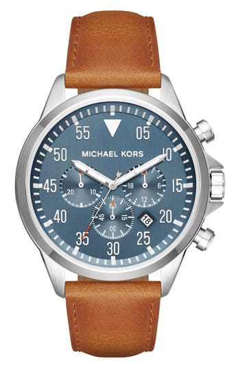 MICHAEL MICHAEL KORS 'Gage' Chronograph Leather Strap Watch, 45Mm in Brown/ Blue/ Silver