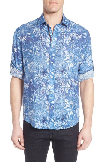 Men's Bugatchi Shaped Fit Floral Linen Sport Shirt