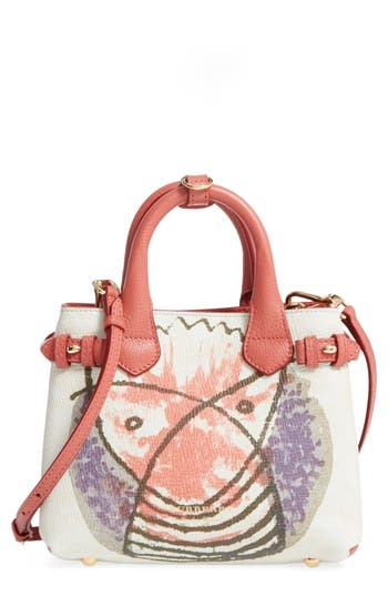 Burberry Small Banner - Palace Print Leather Tote - Red