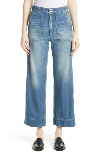 Vintage High Waisted Trousers, Sailor Pants, Jeans Womens La Vie Rebecca Taylor Delphine Wide Leg Jeans Size 30 - Blue $89.98 AT vintagedancer.com