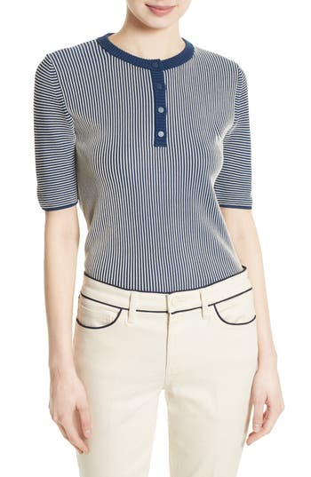 1930s Style Tops, Blouses & Sweaters Womens Tory Burch Kara Stripe Sweater Size X-Large - Blue $99.98 AT vintagedancer.com
