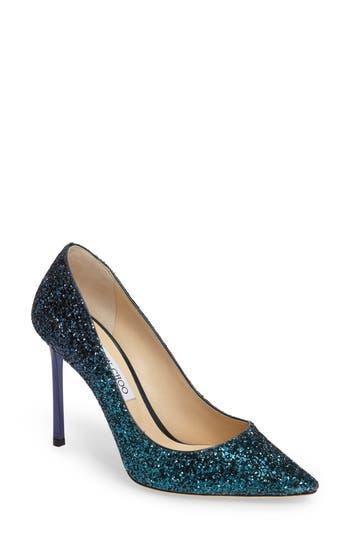 Women's Jimmy Choo 'Romy' Pointy Toe Pump, Size 5.5US / 35.5EU - Blue
