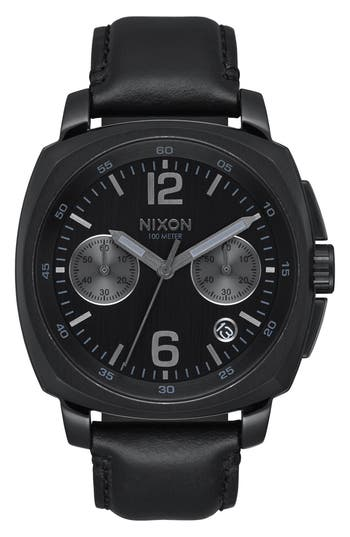 Men's Nixon Charger Chronograph Leather Strap Watch, 42Mm