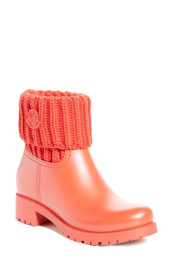 Women's Moncler 'Ginette' Knit Cuff Leather Rain Boot, Size 37 EU - Red