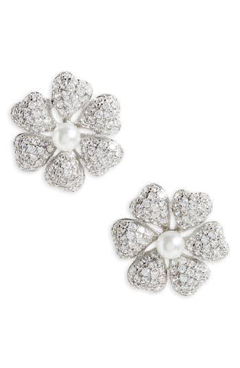 Women's Nina Flower Crystal & Imitation Pearl Stud Earrings