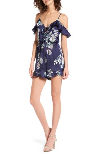 Women's Ruffle Satin Cold Shoulder Romper, Size Large - Blue
