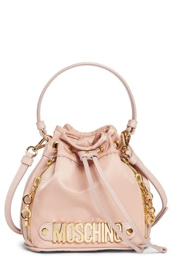 Moschino Letters Small Nylon Bucket Bag - Pink