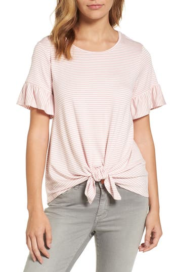 Women's Bobeau Bell Sleeve Tie Front Top, Size Large - Pink
