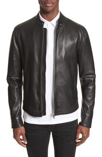 Men's Versace Collection Band Collar Leather Jacket