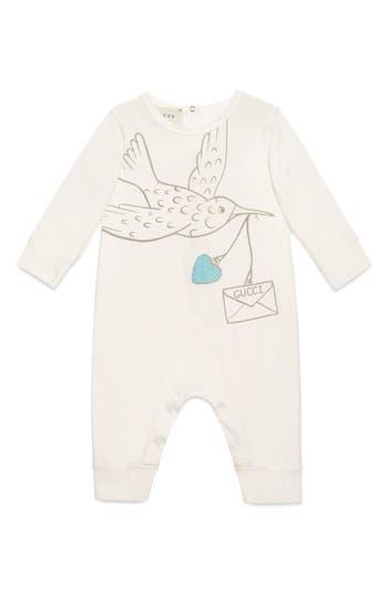 Infant Girl's Gucci Dove Graphic Cotton Romper