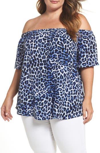 Plus Size Women's Vince Camuto Leopard Song Off The Shoulder Blouse