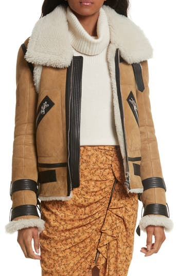 Veronica Beard Windsor Genuine Shearling Pilot Jacket, Beige