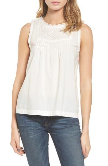 Women's Current/elliott Embroidered Bib Top, Size 0 - White