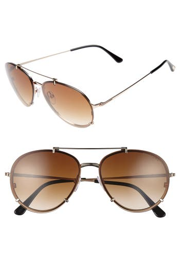 Men's Tom Ford Dickon 59Mm Aviator Sunglasses - Shiny Rose Gold/ Brown