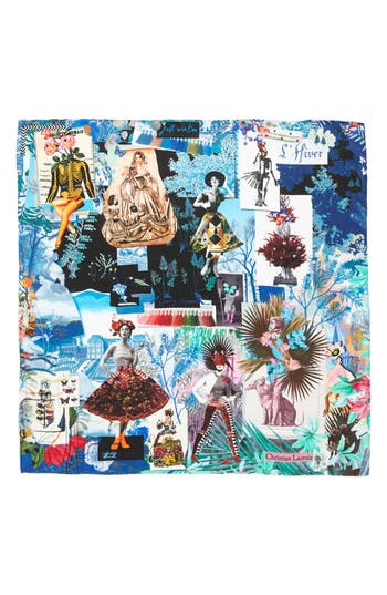 Women's Christian Lacroix Seasons Silk Square Scarf, Size One Size - Blue