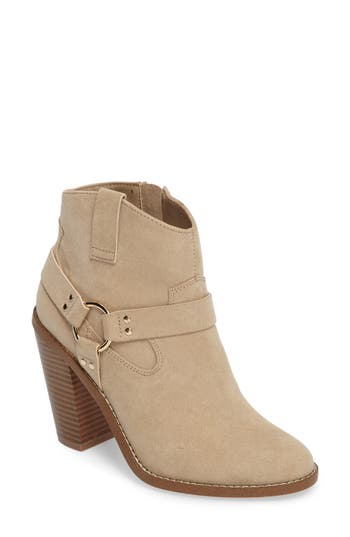 Callisto Fancye Ringed Ankle Strap Bootie, Brown