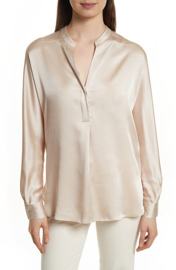 Women's Vince Band Collar Silk Blouse
