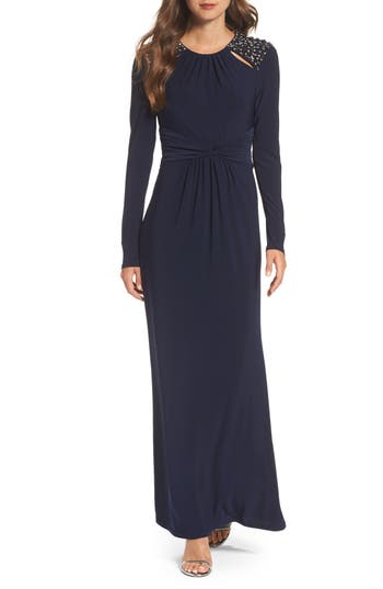 Vince Camuto Embellished Ruched Waist Gown, Blue